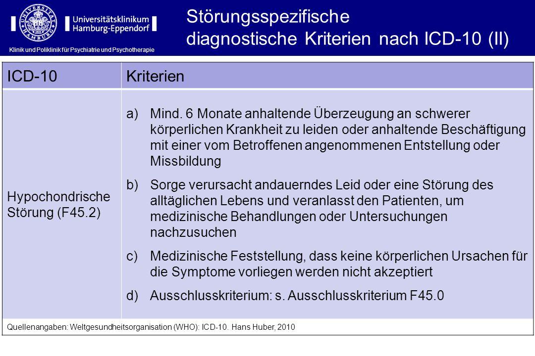 diagnostische Kriterien nach ICD-10 (II)