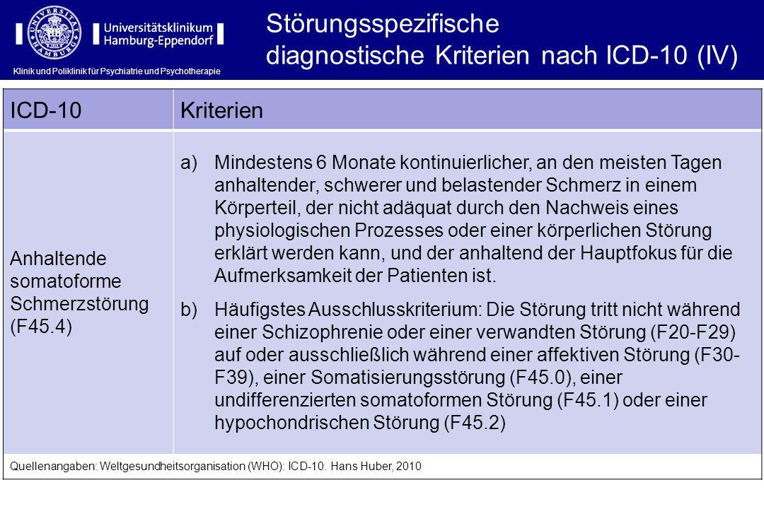 diagnostische Kriterien nach ICD-10 (IV)