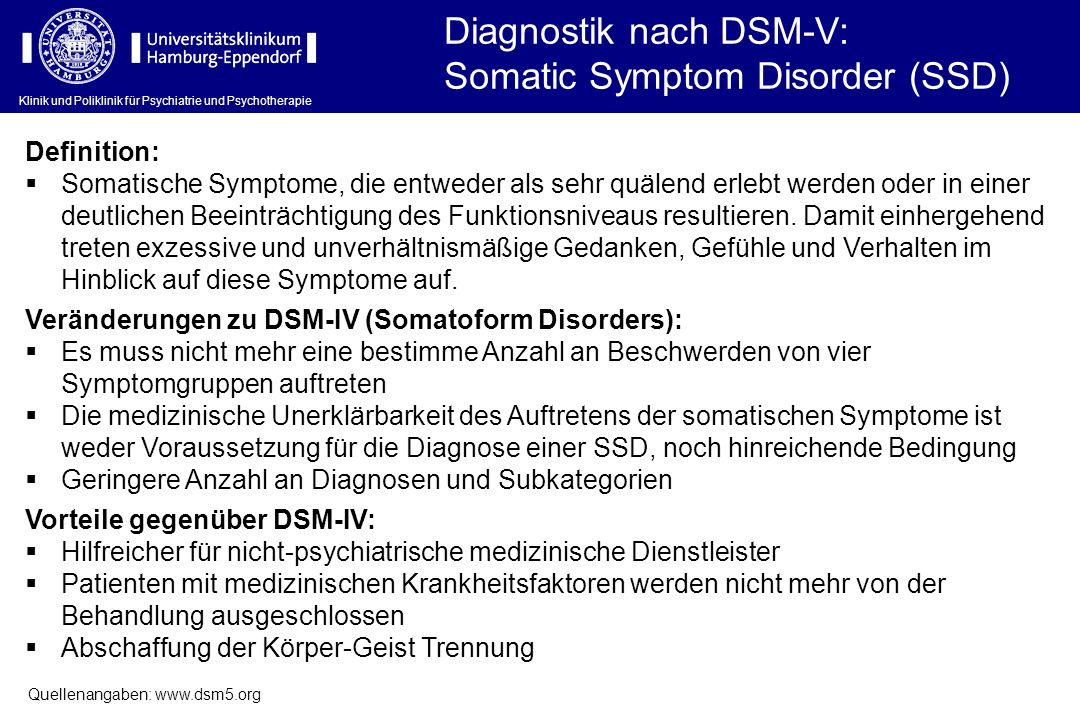 Diagnostik nach DSM-V: Somatic Symptom Disorder (SSD)