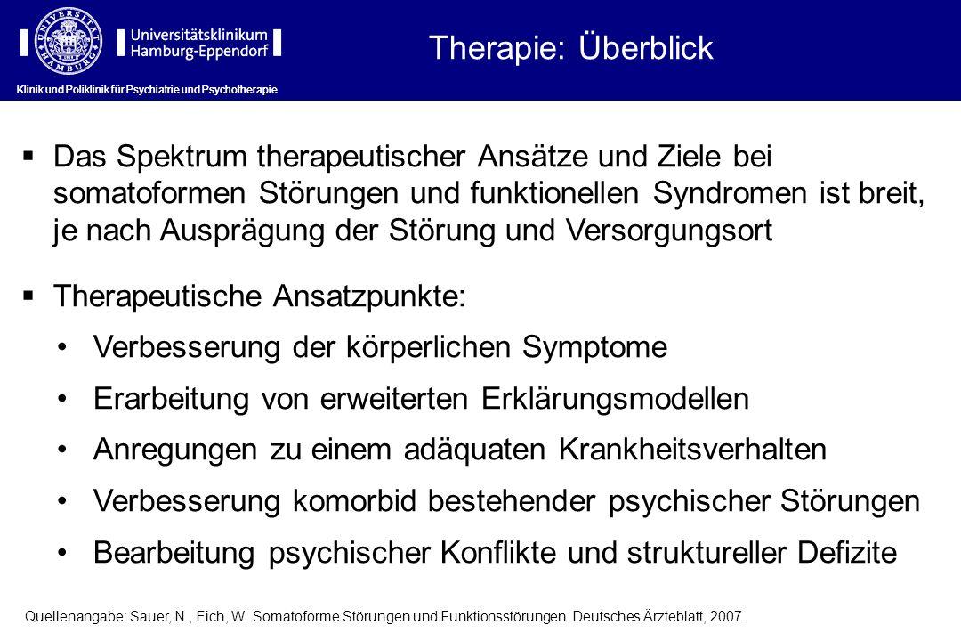 Therapie: Überblick Klinik und Poliklinik für Psychiatrie und Psychotherapie.
