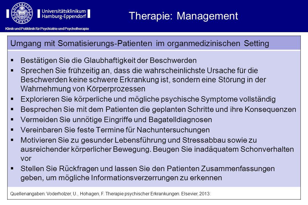 Therapie: Management Klinik und Poliklinik für Psychiatrie und Psychotherapie. Umgang mit Somatisierungs-Patienten im organmedizinischen Setting.