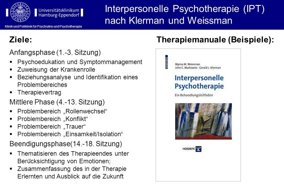 Interpersonelle Psychotherapie (IPT) nach Klerman und Weissman