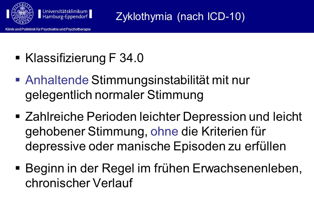 Zyklothymia (nach ICD-10)