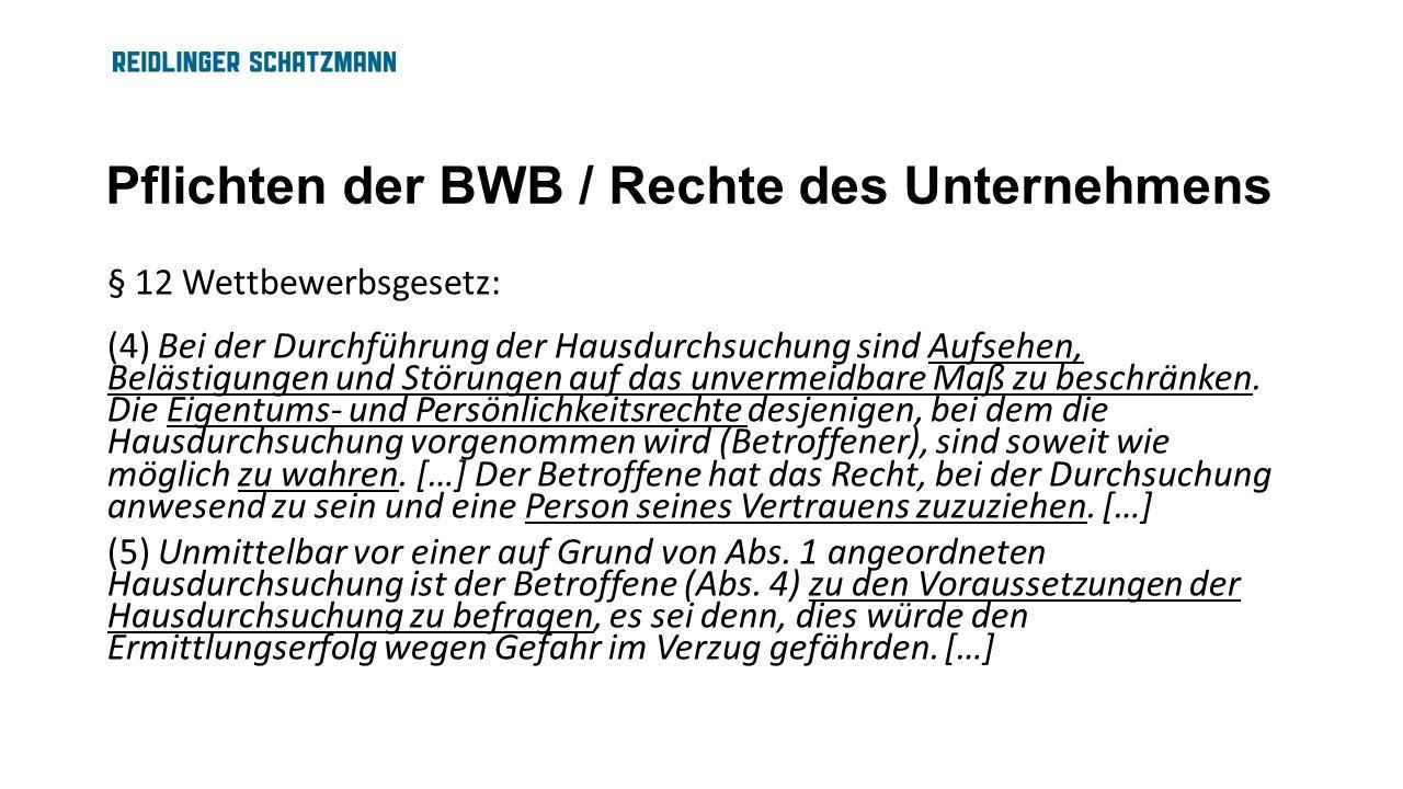 Pflichten der BWB / Rechte des Unternehmens