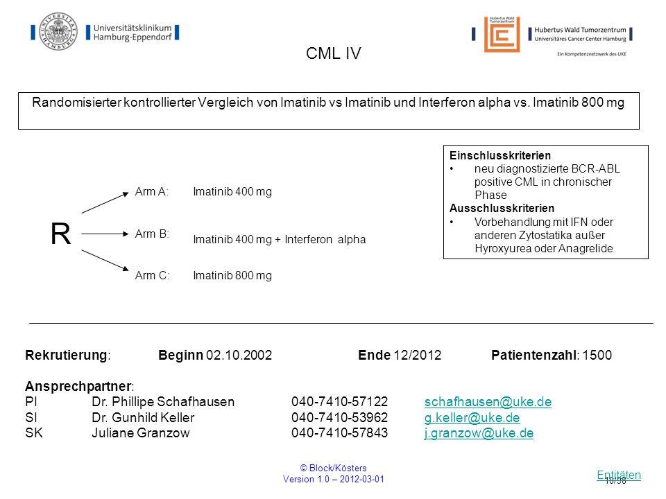 CML IVRandomisierter kontrollierter Vergleich von Imatinib vs Imatinib und Interferon alpha vs. Imatinib 800 mg.