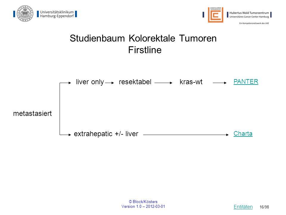 Studienbaum Kolorektale Tumoren Firstline