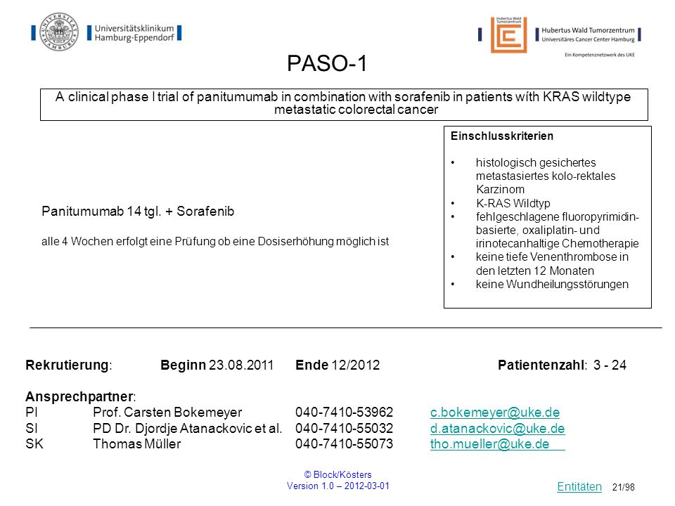 PASO-1A clinical phase I trial of panitumumab in combination with sorafenib in patients wíth KRAS wildtype metastatic colorectal cancer.