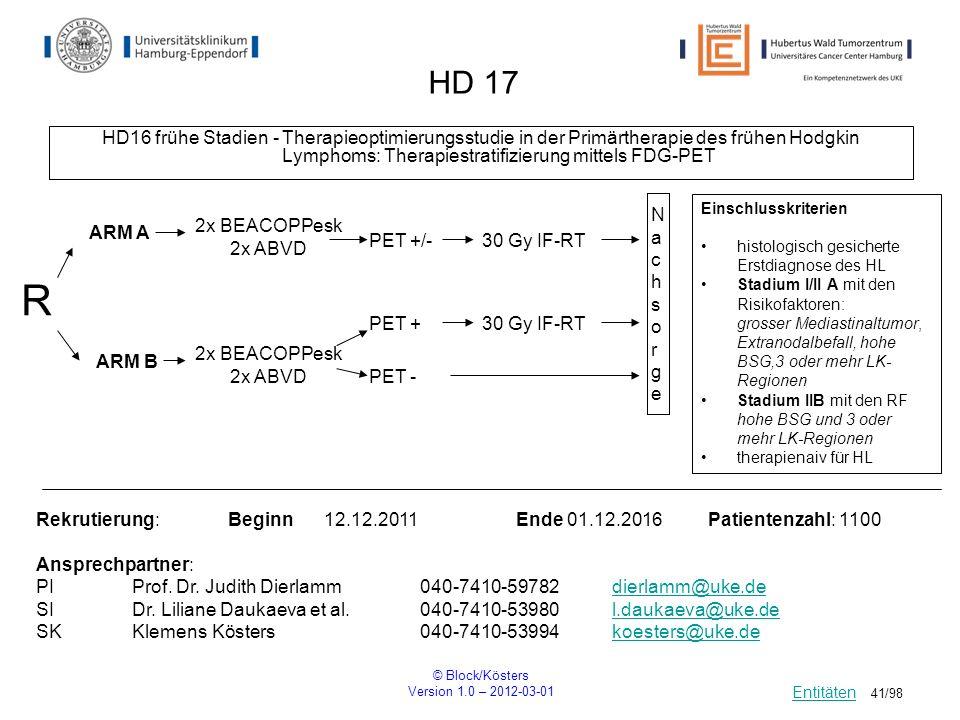 HD 17 HD16 frühe Stadien - Therapieoptimierungsstudie in der Primärtherapie des frühen Hodgkin Lymphoms: Therapiestratifizierung mittels FDG-PET.
