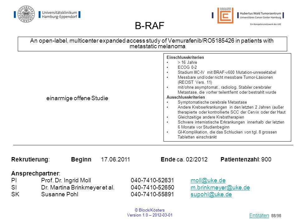 B-RAFAn open-label, multicenter expanded access study of Vemurafenib/RO5185426 in patients with metastatic melanoma.