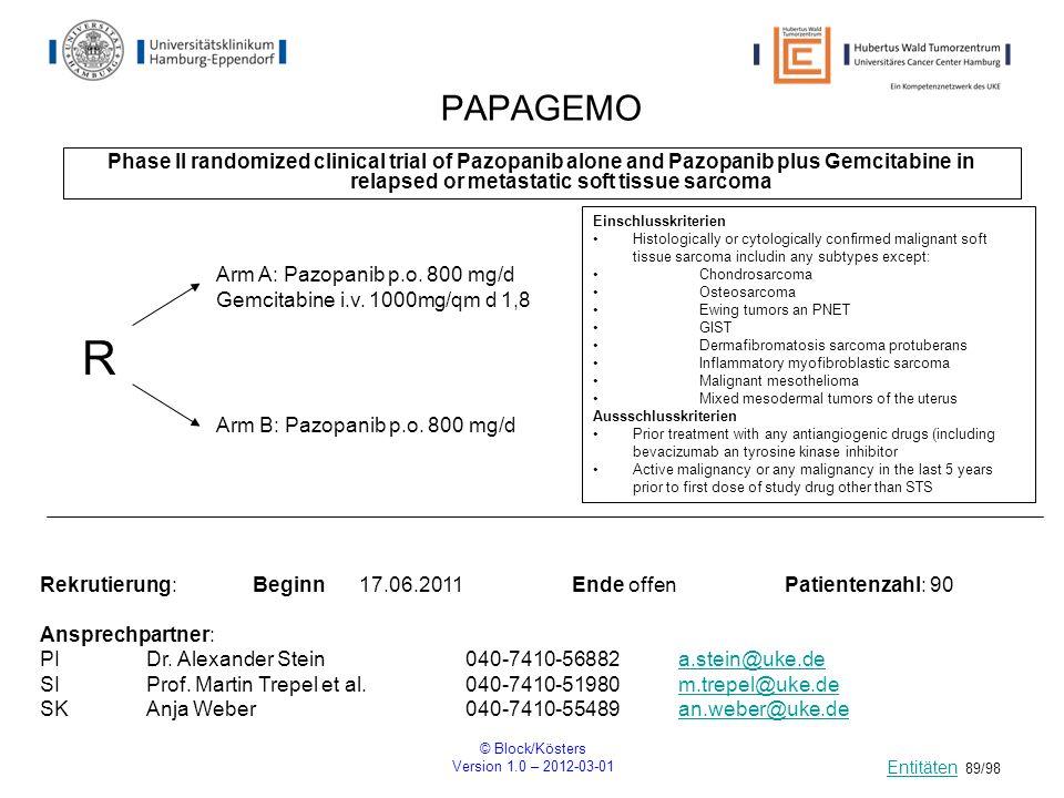 PAPAGEMOPhase II randomized clinical trial of Pazopanib alone and Pazopanib plus Gemcitabine in relapsed or metastatic soft tissue sarcoma.