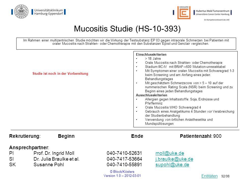 Mucositis Studie (HS-10-393)