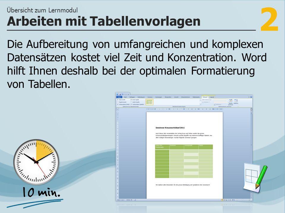 Arbeiten mit Tabellenvorlagen