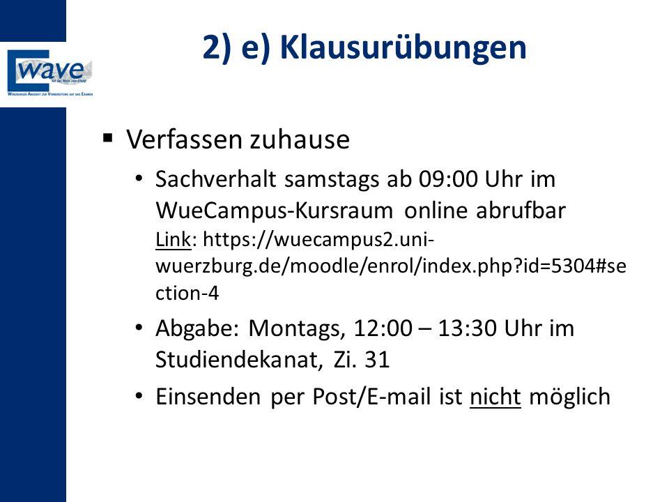 2) e) Klausurübungen Verfassen zuhause