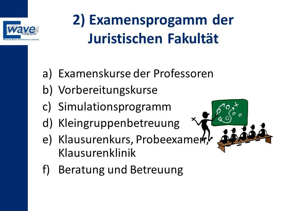 2) Examensprogamm der Juristischen Fakultät