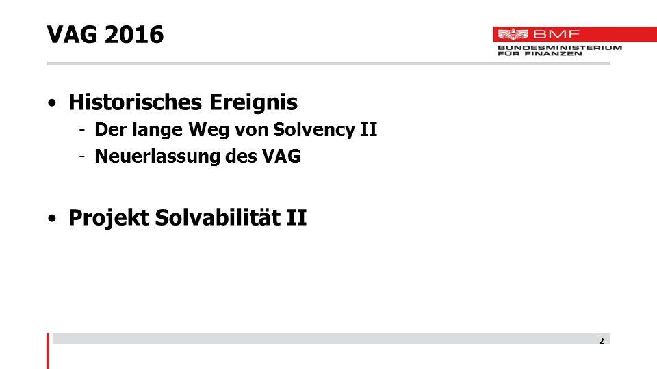VAG 2016 Historisches Ereignis Projekt Solvabilität II