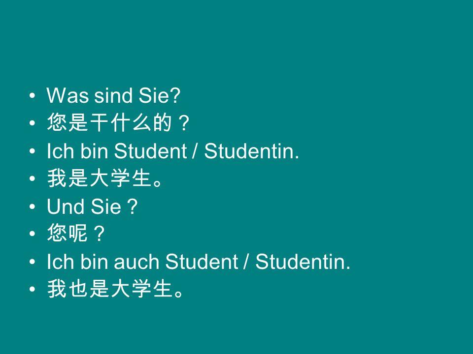 Was sind Sie 您是干什么的? Ich bin Student / Studentin. 我是大学生。 Und Sie 您呢? Ich bin auch Student / Studentin.