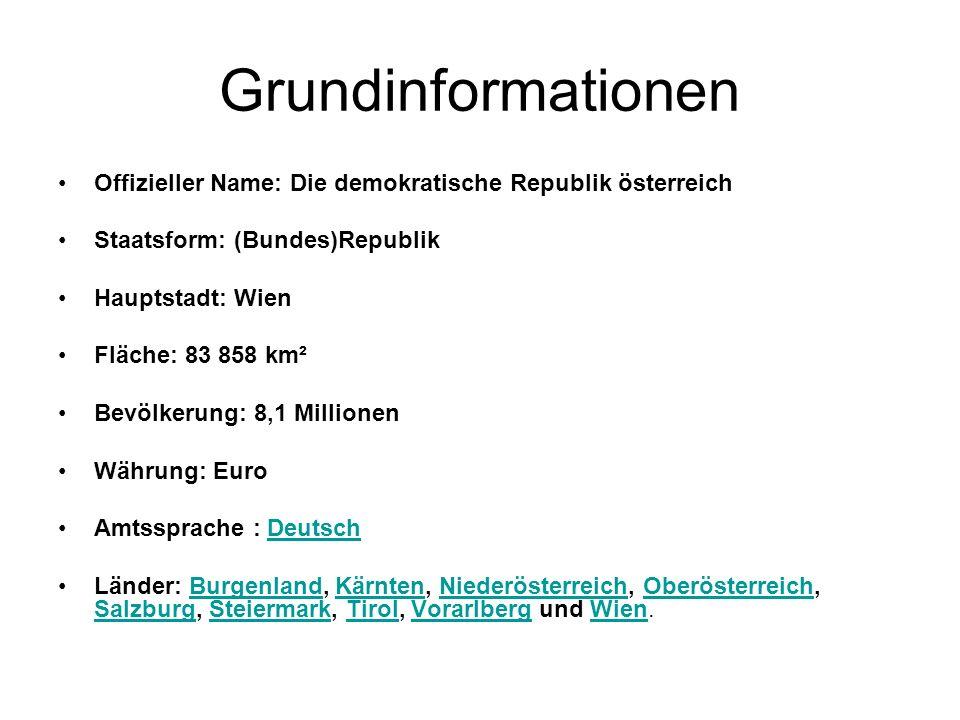 GrundinformationenOffizieller Name: Die demokratische Republik österreich. Staatsform: (Bundes)Republik.