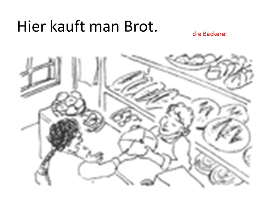 Hier kauft man Brot. die Bäckerei