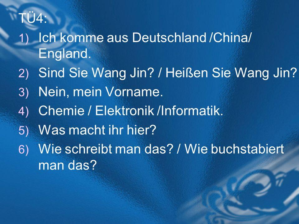 TÜ4: Ich komme aus Deutschland /China/ England. Sind Sie Wang Jin / Heißen Sie Wang Jin Nein, mein Vorname.