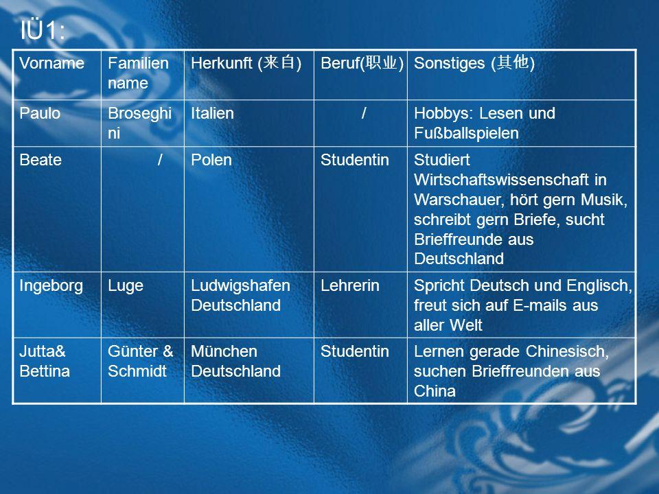 IÜ1: Vorname Familienname Herkunft (来自) Beruf(职业) Sonstiges (其他) Paulo