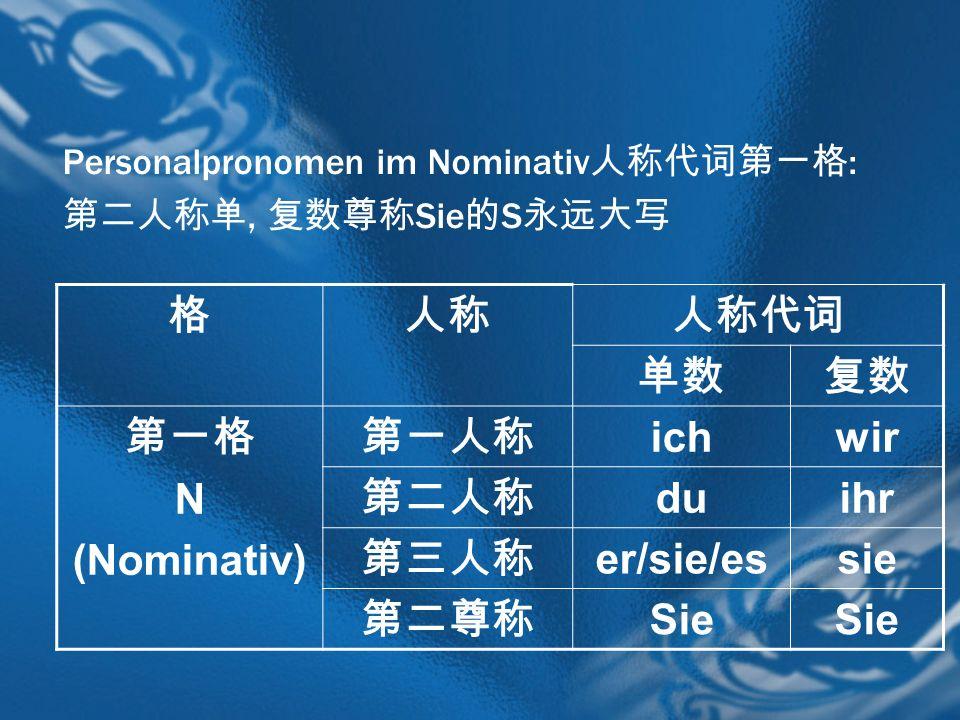 格 人称 人称代词 单数 复数 第一格 N (Nominativ) 第一人称 ich wir 第二人称 du ihr 第三人称