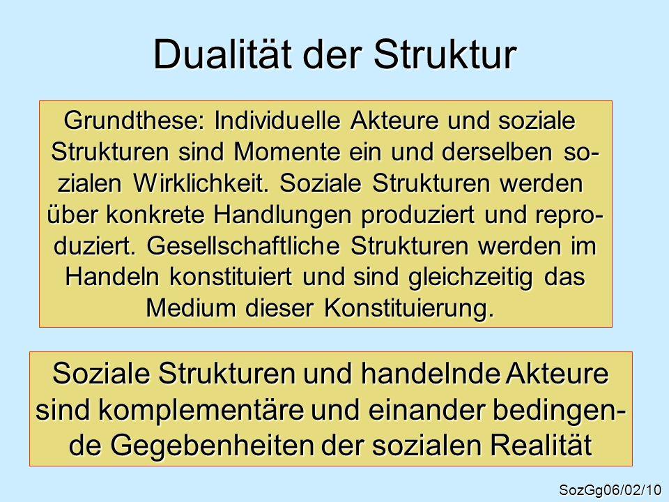 Dualität der Struktur Soziale Strukturen und handelnde Akteure
