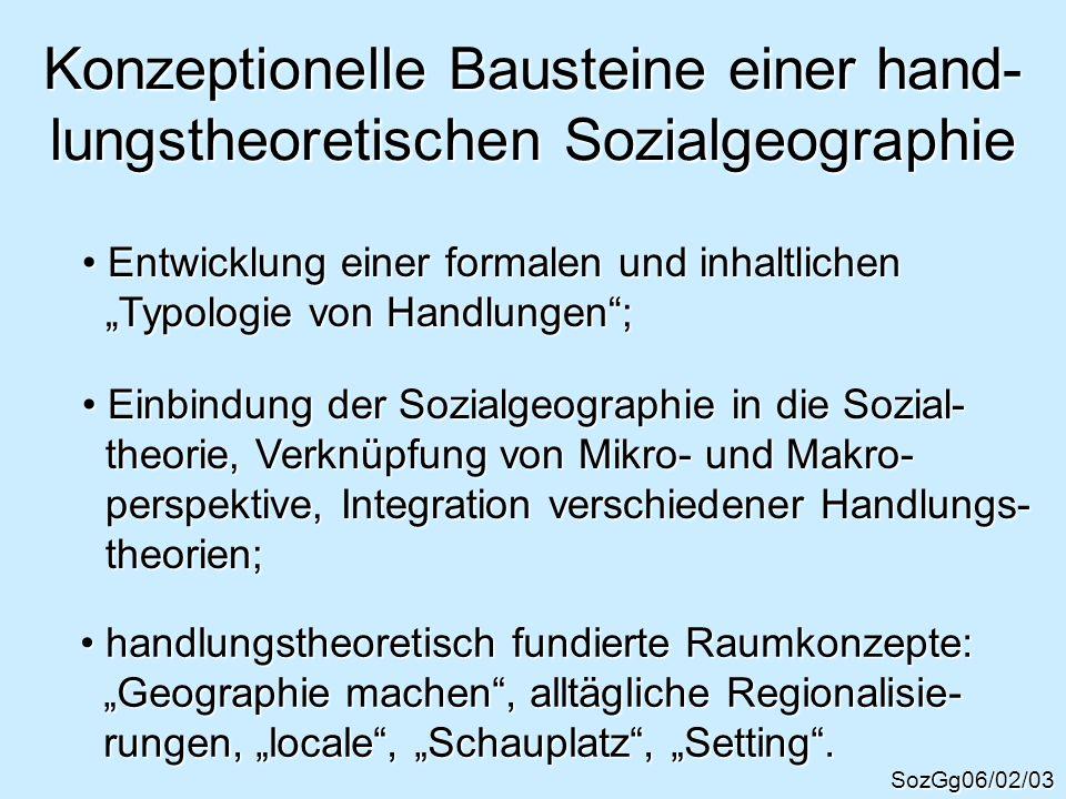 Konzeptionelle Bausteine einer hand-lungstheoretischen Sozialgeographie