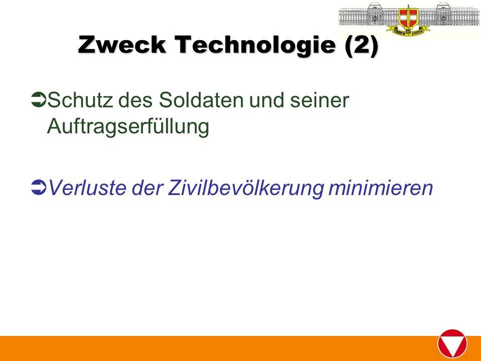 Zweck Technologie (2) Schutz des Soldaten und seiner Auftragserfüllung