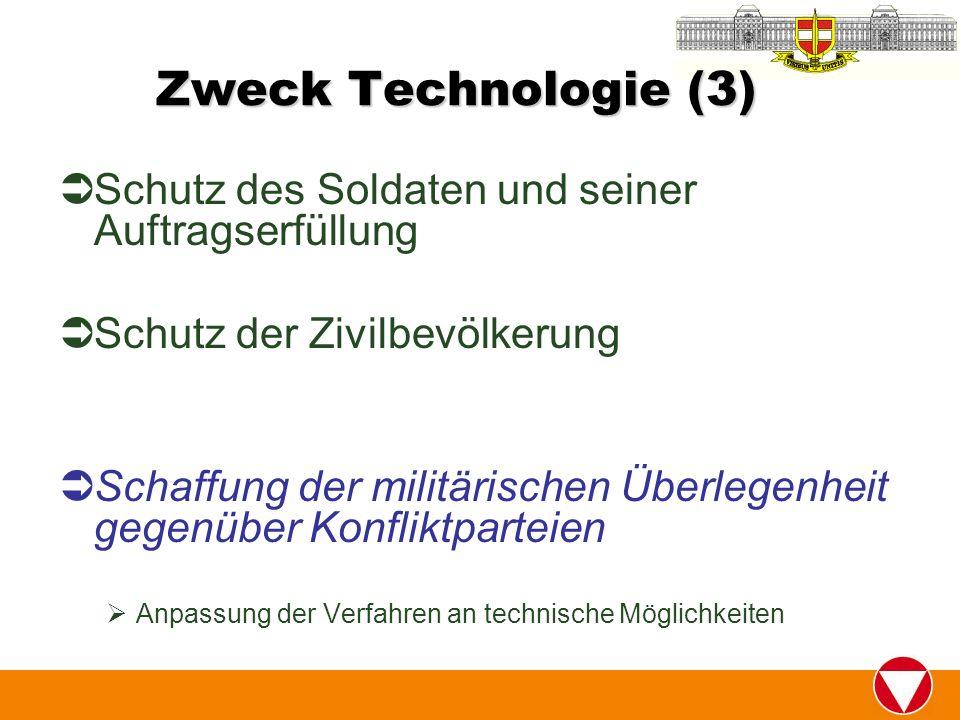 Zweck Technologie (3) Schutz des Soldaten und seiner Auftragserfüllung