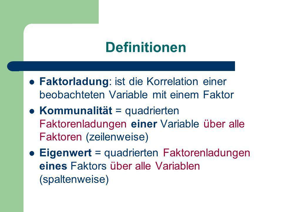 Definitionen Faktorladung: ist die Korrelation einer beobachteten Variable mit einem Faktor.