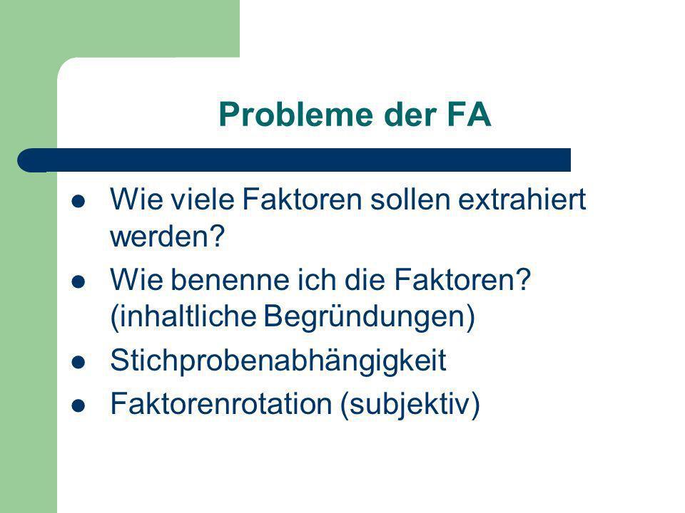 Probleme der FA Wie viele Faktoren sollen extrahiert werden