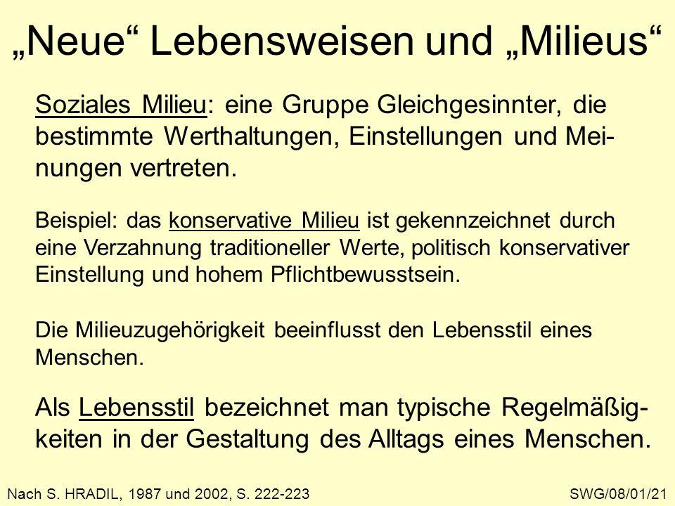 """""""Neue Lebensweisen und """"Milieus"""