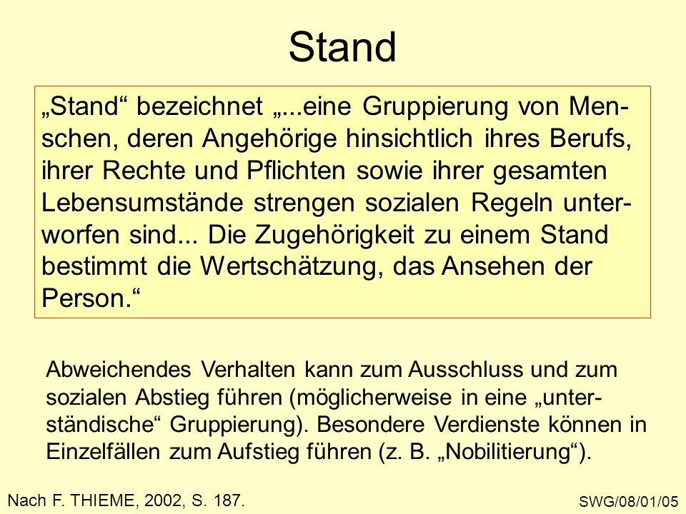 """Stand """"Stand bezeichnet """"...eine Gruppierung von Men-"""
