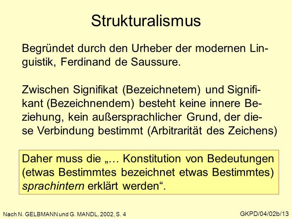 Strukturalismus Begründet durch den Urheber der modernen Lin-