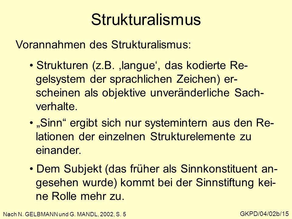 Strukturalismus Vorannahmen des Strukturalismus: