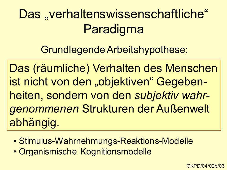 """Das """"verhaltenswissenschaftliche Paradigma"""