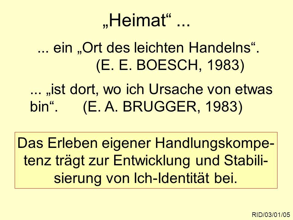 """""""Heimat ... ... ein """"Ort des leichten Handelns . (E. E. BOESCH, 1983)"""