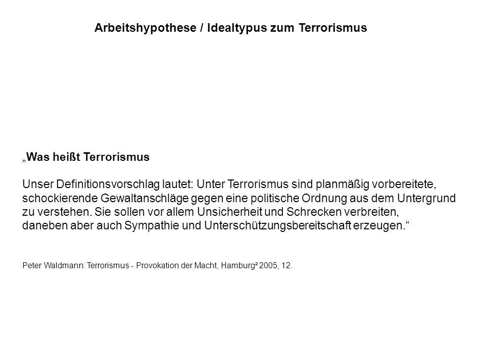 Arbeitshypothese / Idealtypus zum Terrorismus