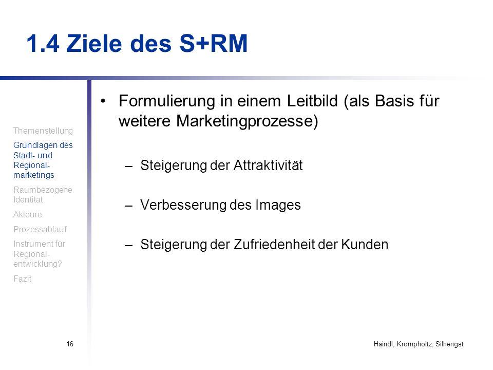 1.4 Ziele des S+RM Formulierung in einem Leitbild (als Basis für weitere Marketingprozesse) Steigerung der Attraktivität.