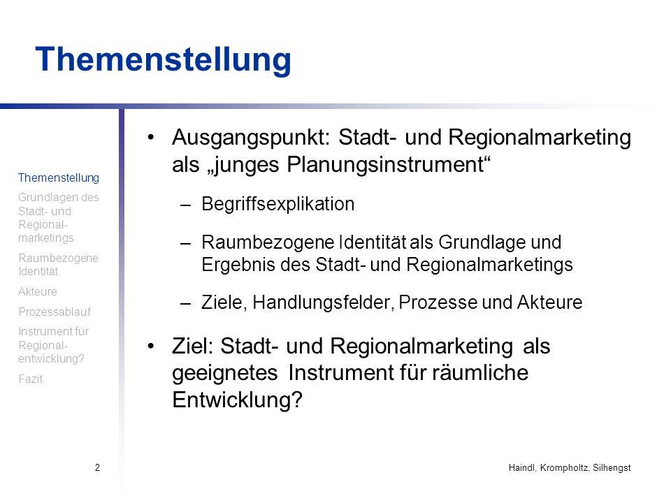 """Themenstellung Ausgangspunkt: Stadt- und Regionalmarketing als """"junges Planungsinstrument Begriffsexplikation."""