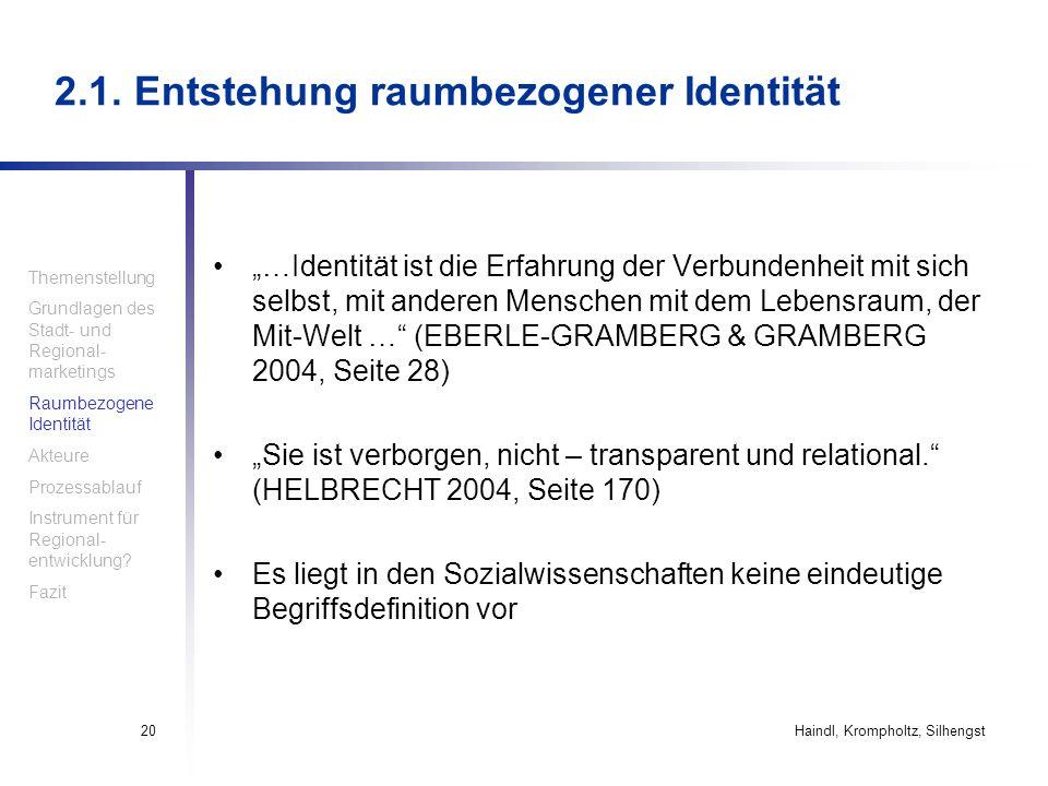 2.1. Entstehung raumbezogener Identität