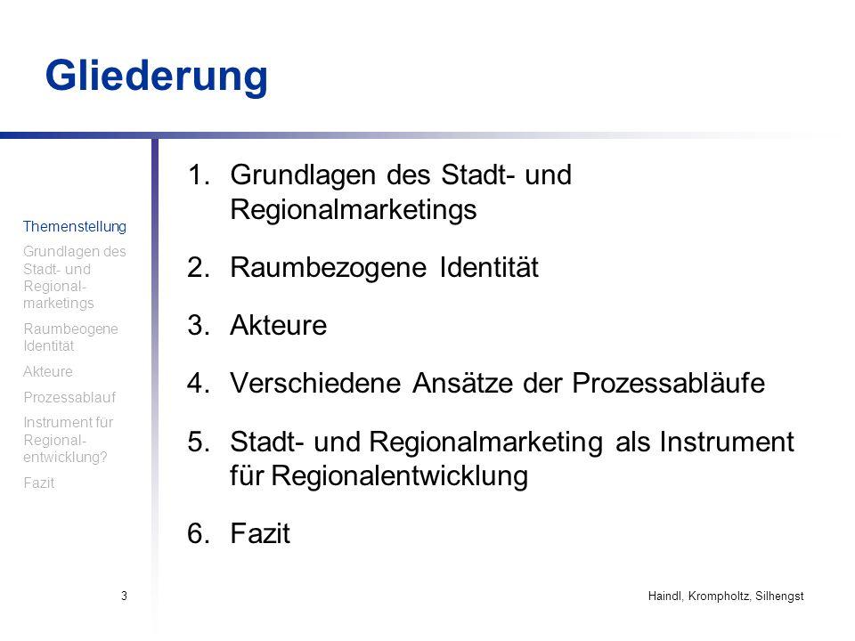 Gliederung Grundlagen des Stadt- und Regionalmarketings