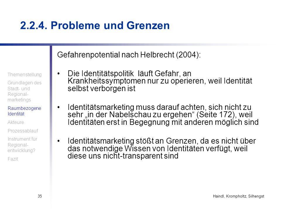 2.2.4. Probleme und Grenzen Gefahrenpotential nach Helbrecht (2004):