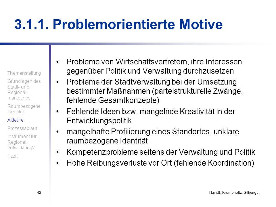 3.1.1. Problemorientierte Motive