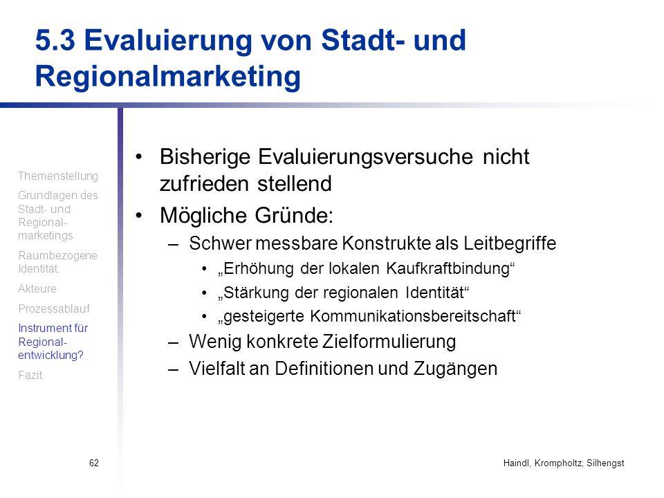5.3 Evaluierung von Stadt- und Regionalmarketing