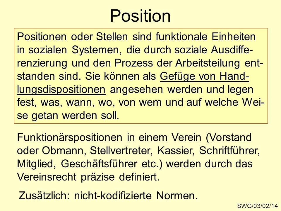 Position Positionen oder Stellen sind funktionale Einheiten