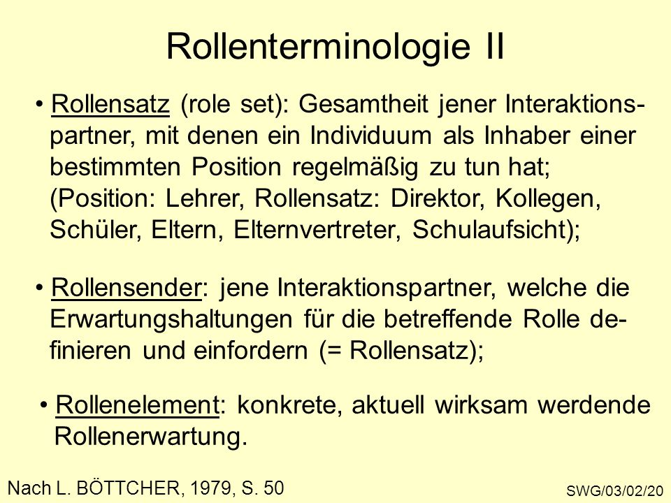 Rollenterminologie II