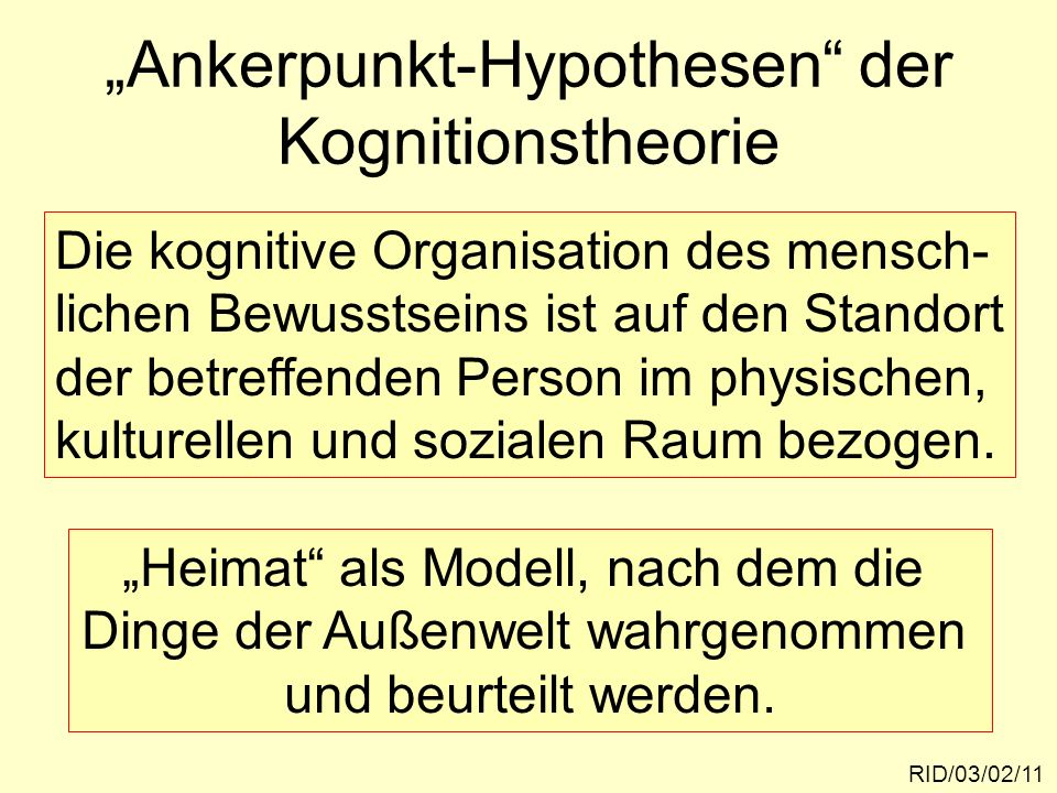 """""""Ankerpunkt-Hypothesen der Kognitionstheorie"""