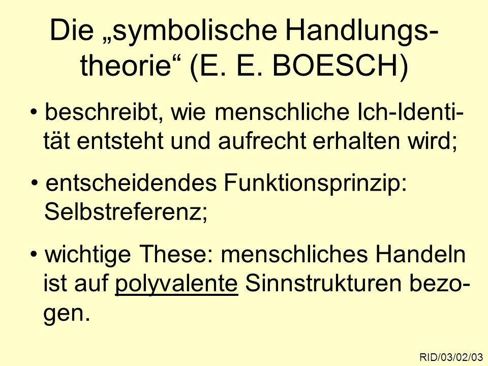 "Die ""symbolische Handlungs- theorie (E. E. BOESCH)"