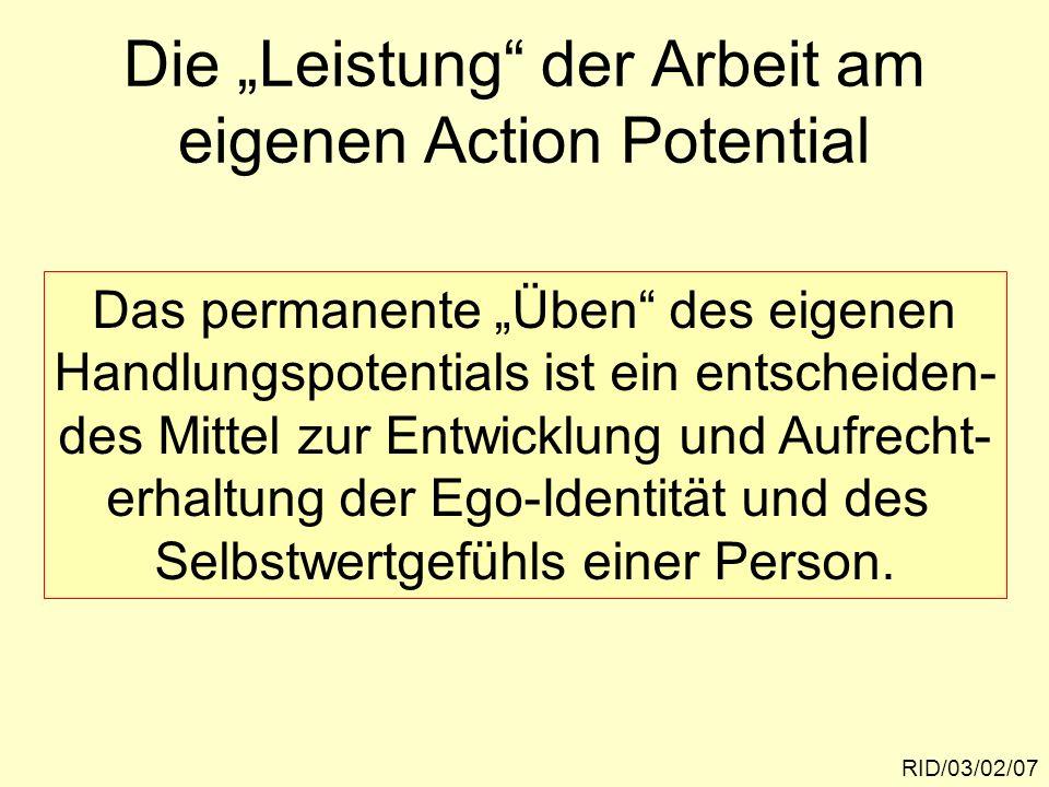 """Die """"Leistung der Arbeit am eigenen Action Potential"""